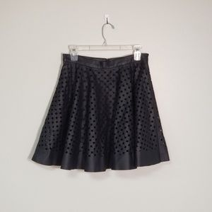 Club Monaco Perforated Faux Leather Flare Skirt